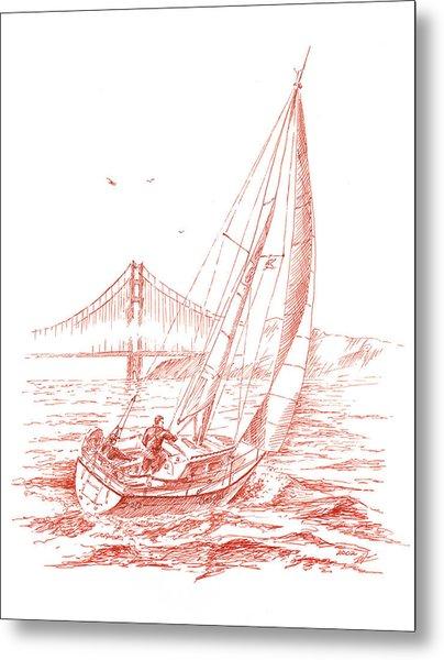 San Francisco Bay Sailing To Golden Gate Bridge Metal Print