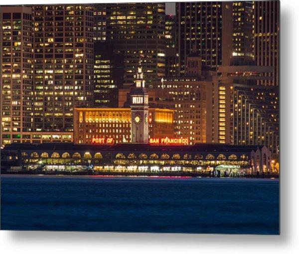 San Francisco Ferry Building At Night.  Metal Print