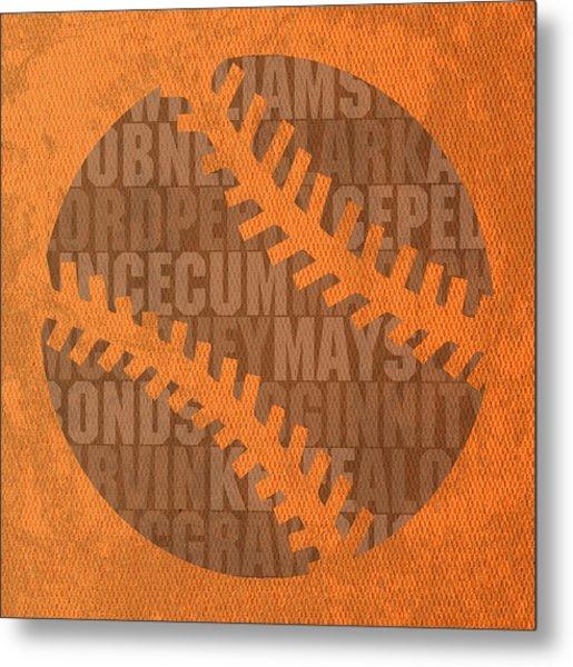 San Francisco Giants Baseball Typography Famous Player Names On Canvas Metal Print