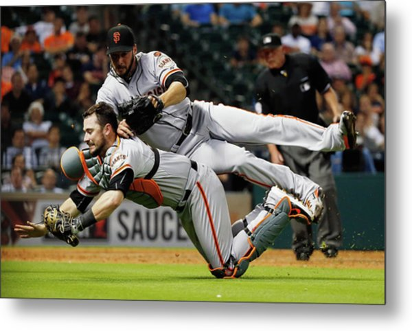 San Francisco Giants V Houston Astros Metal Print by Scott Halleran