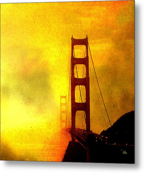 San Francisco Golden Gate Bridge Commute In Sun And Fog Metal Print