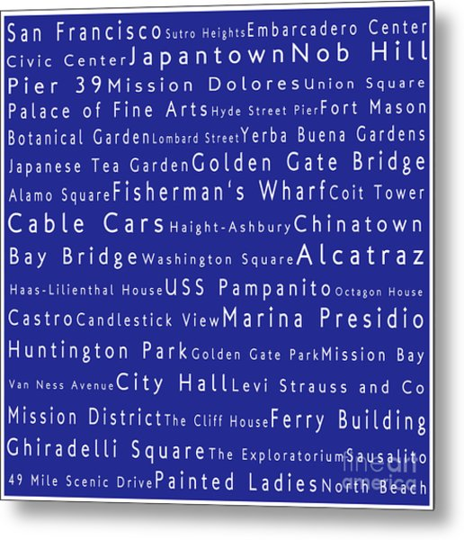 San Francisco In Words Blue Metal Print
