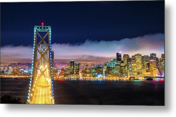 San Francisco Skyline Panorama And Metal Print by Dszc