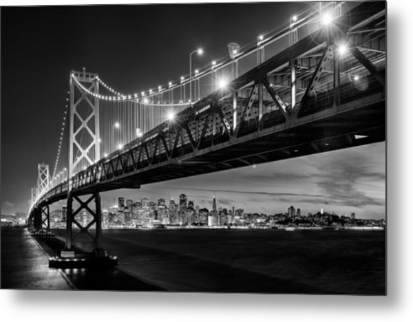 San Francisco - Under The Bay Bridge - Black And White Metal Print