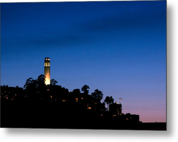 San Francisco's Coit Tower At Night Metal Print by SFPhotoStore