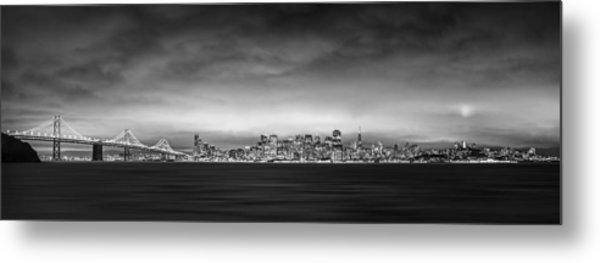 San Fransisco Cityscape Black And White Panorama Metal Print