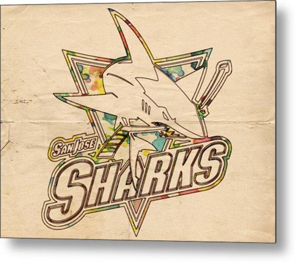 San Jose Sharks Vintage Poster Metal Print