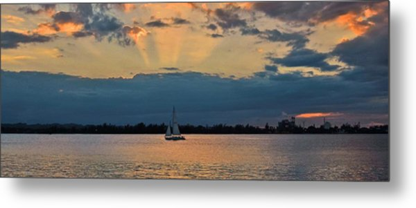 San Juan Bay Sunset And Sailboat Metal Print