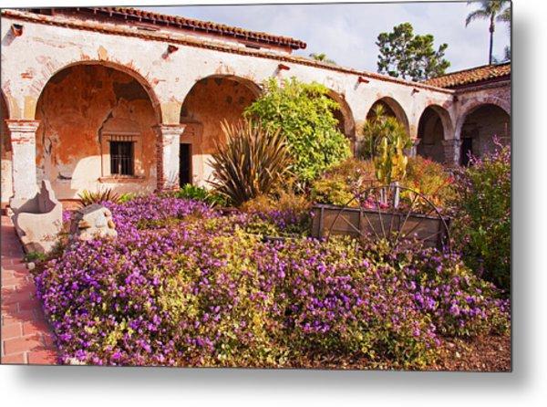 San Juan Capistrano Mission Flower Garden Metal Print
