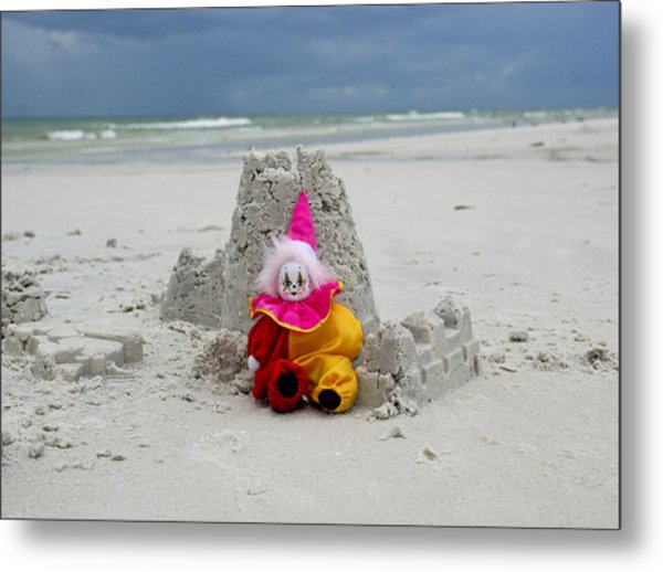 Sand Castle Jester Metal Print by William Patrick