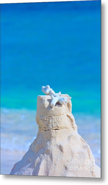 Sand Castle With Coral Against Calm Turquoise Sea Metal Print