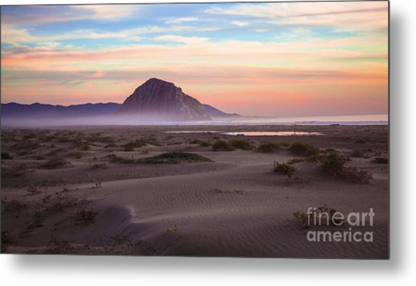 Sand Dunes At Sunset At Morro Bay Beach Shoreline  Metal Print