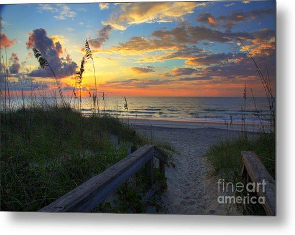 Sand Dunes On The Seashore At Sunrise - Carolina Beach Nc Metal Print