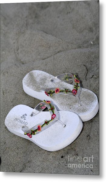 Sandals In The Sand Metal Print by Laura Paine