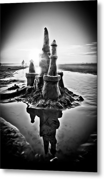 Sandcastle In Black And White Metal Print