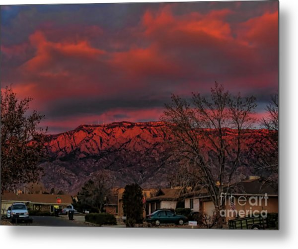 Sandia Moutains At Sunset Metal Print