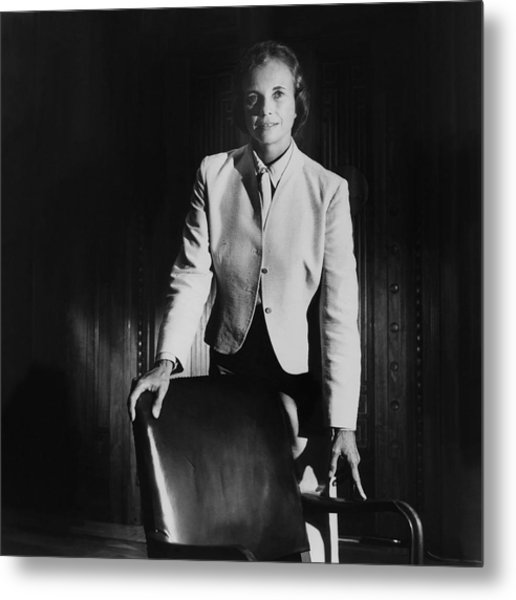 Sandra Day O'connor Posing Beside An Office Chair Metal Print by Horst P. Horst