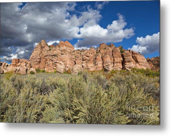 Sandstone And Clouds In Zion Natl Park Utah Metal Print by Yva Momatiuk John Eastcott