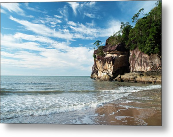 Sandstone Cliffs By Ocean At Telok Metal Print
