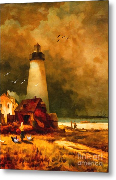 Sandy Hook Lighthouse - After Moran Metal Print