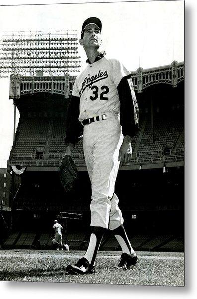 Sandy Koufax Vintage Baseball Poster Metal Print