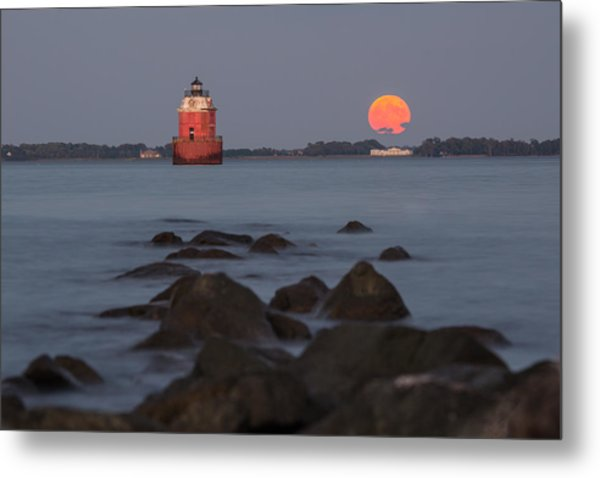 Sandy Point Lighthouse Moonrise Metal Print