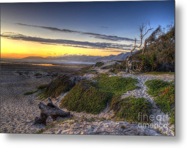 Sandy Sunset Beach Metal Print