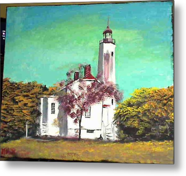 Sandyhook Light House Metal Print by M Bhatt