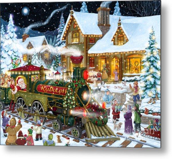 Santa Arrives In Rudolph Train Metal Print