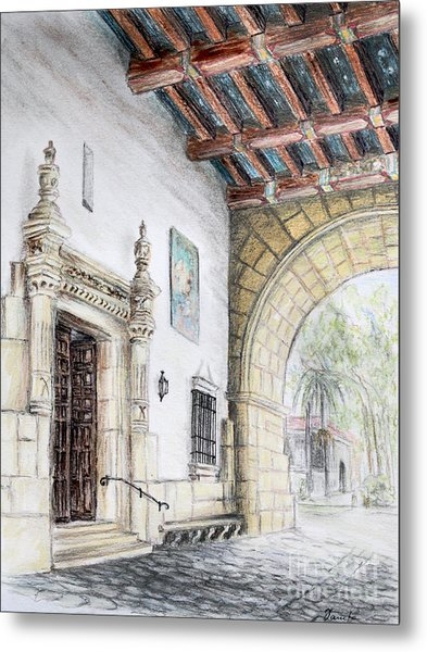 Santa Barbara Courthouse Arch Metal Print