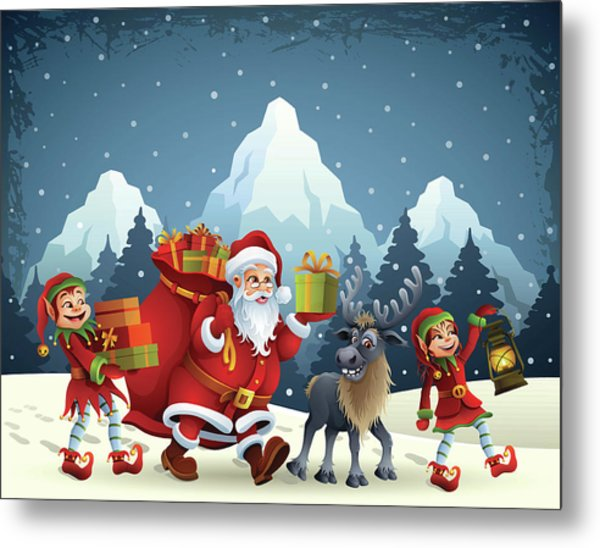 Santa Claus Is Coming Metal Print by Alonzodesign