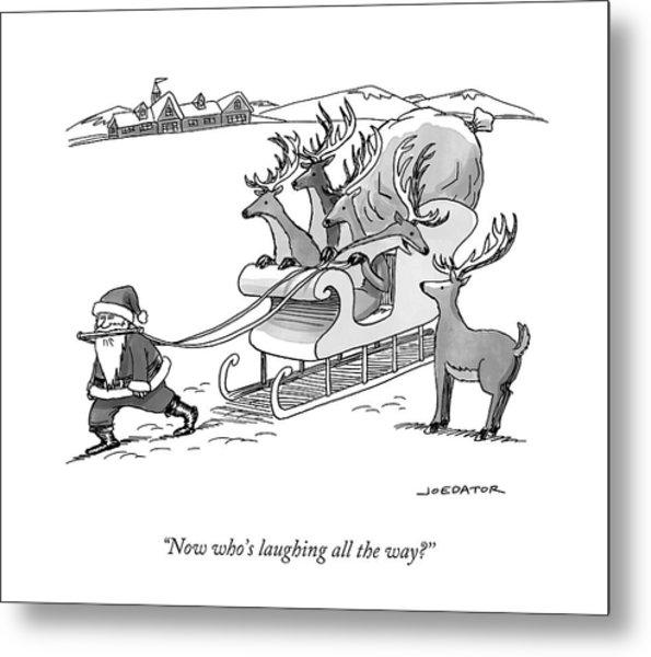 Santa Claus Pulls A Sleigh Full Of Reindeer Metal Print
