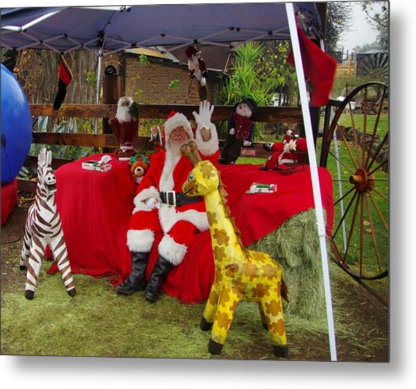 Santa Clausewith The Animals Metal Print