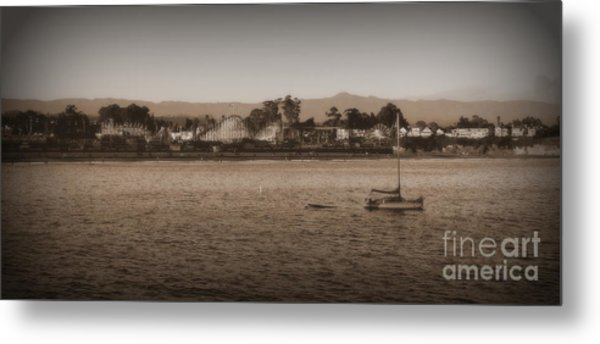 Santa Cruz Boardwalk Sepia 2 Metal Print