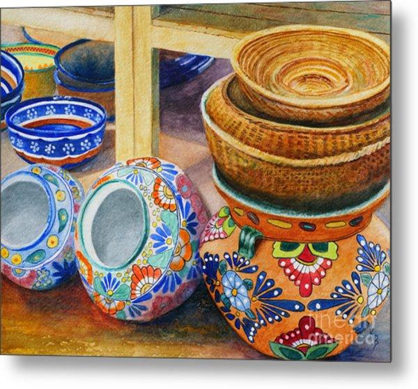 Metal Print featuring the painting Santa Fe Hold 'em Pots And Baskets by Karen Fleschler