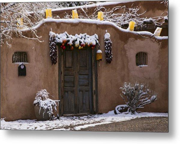 Santa Fe Style Southwestern Adobe Door Metal Print