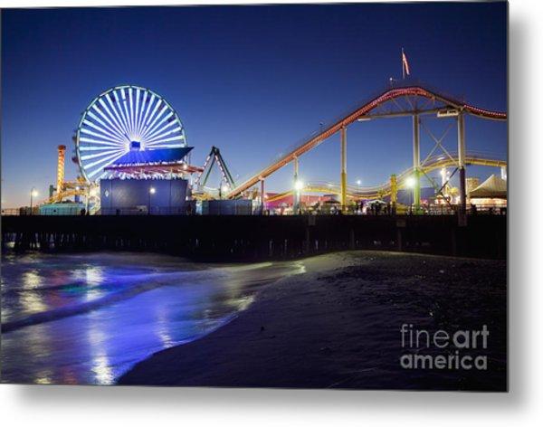 Santa Monica Pier At Night Metal Print