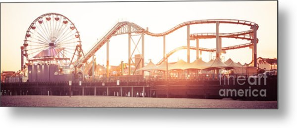 Santa Monica Pier Roller Coaster Panorama Photo Metal Print