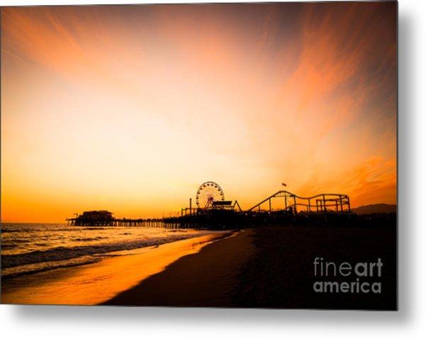 Santa Monica Pier Sunset Southern California Metal Print