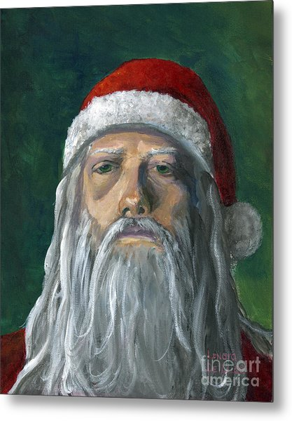 Santa Portrait Art Red And Green Metal Print