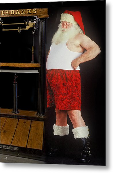 Santa Scaling Back Metal Print