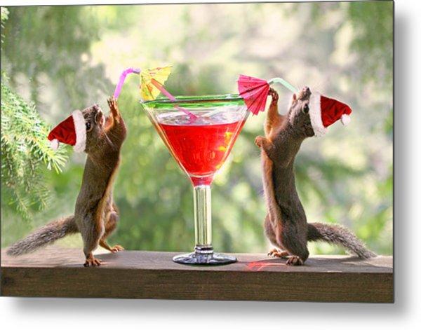 Santa Squirrels Celebrating Christmas Metal Print