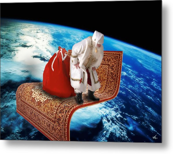 Santa's Flying Carpet Metal Print