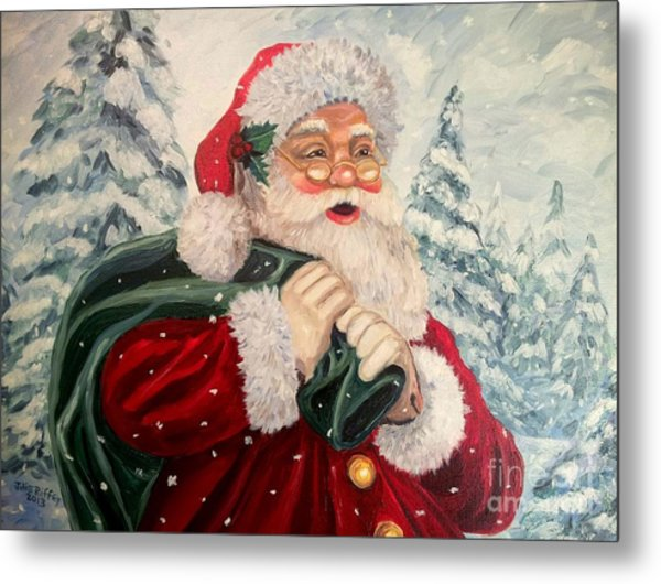 Santa's On His Way Metal Print