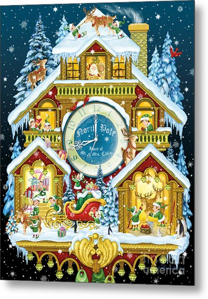 Santas Workshop Cuckoo Clock Metal Print