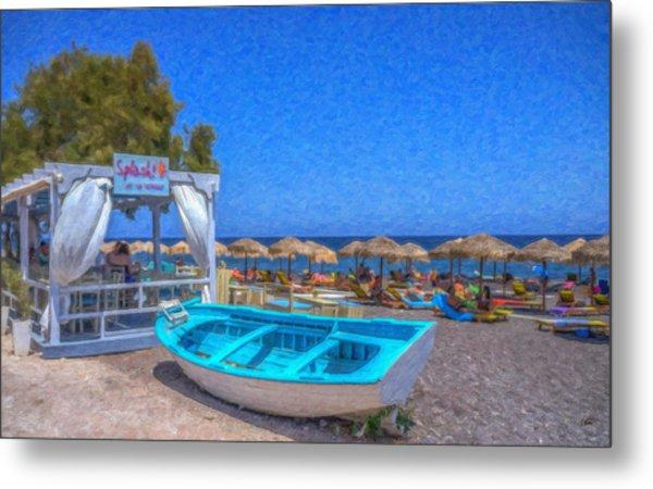 Santorini Beach Boat Grk4151 Metal Print