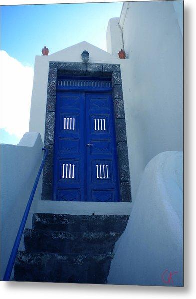 Santorini Door  To Heaven  Metal Print