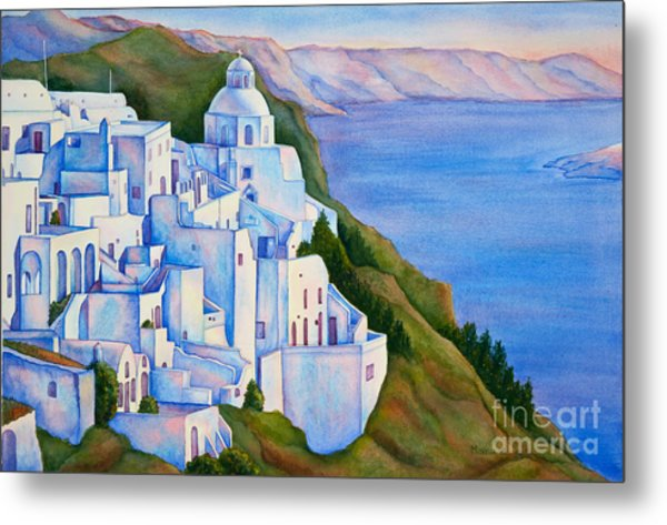 Santorini Greece Watercolor Metal Print
