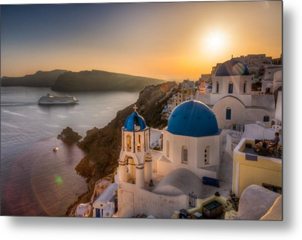 Santorini Sunset Cruise Metal Print