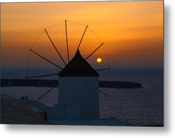 Santorini Windmill Sunset Metal Print